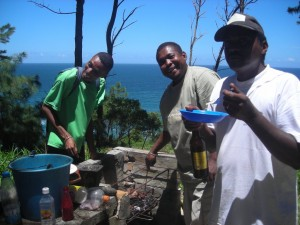 enjoying BBQ and sea views as the ALT Mg team celebrate Andrew's legacy in Madagascar